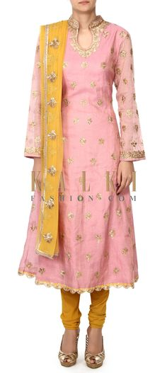 Buy this Pink straight suit embellished in zari embroidery only on Kalki