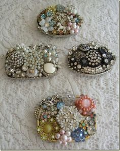 The one on the bottom is mine! vintage bling belt buckles by Lisa of A Thing for Roses Jewelry Tree, Old Jewelry, Jewelry Making, Indian Jewelry, Vintage Jewelry Crafts, Vintage Costume Jewelry, Handmade Jewelry, Bling Belts, Beaded Brooch