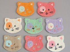 Crochet cat faces.