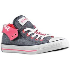 Converse Shoes For Girls-Gray outside/pink inside with converse printed on the part that turns down.