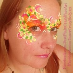 Inspired by Sylvie Dehareng Flower crown mask princess Bright colorful face painting face paint makeup art Teen adult design Artist - Marie Sulcoski Face Paint Makeup, Makeup Art, Flowers Nature, Flower Crown, Face And Body, Body Art, Teen, Bright, Colorful