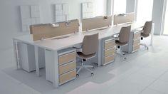 Oficina estilo nordico o escandinavo. utilización de materiales naturales y blanco.