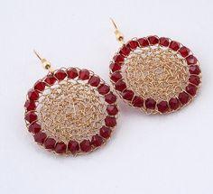 Red Maroon Swarovski 14K gold filled crochet by StavHoffmanJewelry