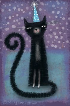 #Birthday Cat--Brushes Painting  Animal Art multicityworldtravel.com We cover the world over Hotel and Flight Deals.We guarantee the best price