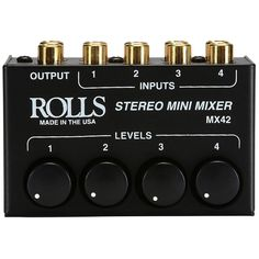 Four Channel Stereo Mixer, mixes up to four stereo RCA signals such as CD or cassette players w/VCR units