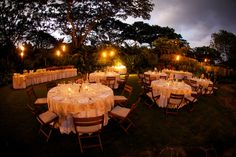 Buffet dinner with round guest tables, house champagne linens, tiki torches for lighting, teak folding chairs.  Garden Lawn, Four Seasons Resort Hualalai Weddings