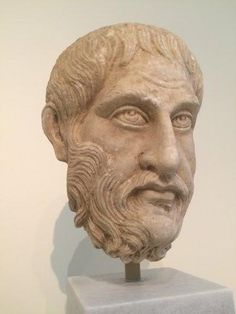 Portrait head of a philosopher (?). Pentelic marble. Found in the sanctuary of Asklepios at Epidauros. The head belongs to the type of the 'Epidauros philosopher', so called after this very portrait. 270-280 AD.