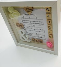 Personalised Wedding Music Sheet Frame by RIVADesignsGifts on Etsy https://www.etsy.com/uk/listing/539345655/personalised-wedding-music-sheet-frame