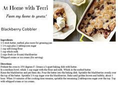 Blackberry Cobbler From more recipes here: https://www.facebook.com/AtHomewithTerri