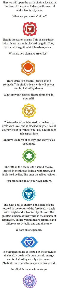Basic description and instructions for Chakra Meditation, used to open, clear, align and balance energy centers and bring about healing, health and wellness <3