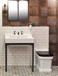 The traditional Metro bathroom sink and matching WC from Aston Matthews are suitable for an urban industrial style bathroom