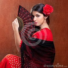 Flamenco dancer Spain woman gipsy with red rose and spanish hand fan. #Flamenco #dancer #Spain #gipsy