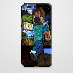 Minecraft Steve Typograpghy Google Pixel Case | casefantasy