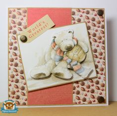 Droplets in a Rusty Bucket, Highland Handmade, Wellington Bear, Decoupage, Male card