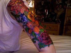 Half Sleeve Flowers Tattoos