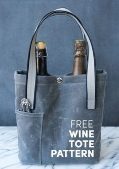 waxed canvas wine tote free pattern // taylor tailor for the sewing party Wine Purse, Wine Tote Bag, Tote Bags, Diy Sac, Bottle Bag, Tote Pattern, Denim Bag, Denim Jeans, Sewing Patterns Free