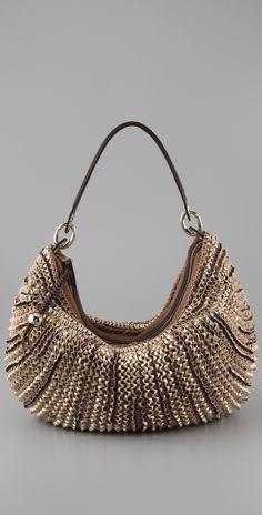Designer Hobo Bags at Shopbop Coach Purses Cheap, Purses And Bags, Cute Handbags, Branded Bags, Metal Beads, Metallic Leather, Diane Von Furstenberg, Hobo Bags, Medium
