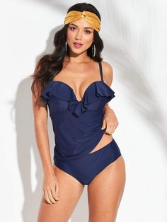899279311 Shapewear Underwired Sweetheart Ruffle Tankini Top - Navy. V by Very ...