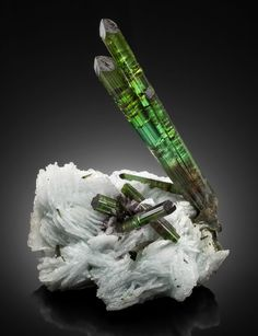 "Tourmaline on cleavelandite - ""Blastoff"". Grandon Pocket, 2004, Pederneira Mine, São José da Safira, Doce Valley, Minas Gerais, Brazil"