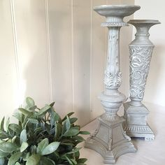 Candle Holders French Shabby Cottage Chic Beach Home Decor Set of 2