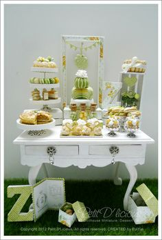 "A darling Miniature Birthday Party Dessert Table for a dollhouse from Petit D' Licious. Could be a great vignette for a ""real"" dessert table!"