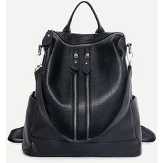 SheIn(sheinside) Black Faux Leather Zip Front Backpack (1.800 RUB) ❤ liked on Polyvore featuring bags, backpacks, black, vegan leather bags, knapsack bag, faux leather backpack, fake leather backpack and vegan bags