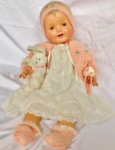 """1930's Darling Huge 27"""" Big Happy Chubby Composition Smiling Baby Girl Doll 