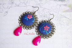 Rose earring, Blue Pink earrings, Vintage fabric earrings, facet bead earring, Romantic earrings, Floral earrings, shabby chic earrings www.pinterest.com/cocoflower