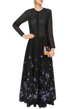 5X by Ajit Kumar Black Panelled Anarkali Set #happyshopping #shopnow #ppus