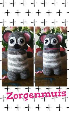 Zorgenvriendje ☆ zorgenmuis Worry Monster, Monsters, Crochet Hats, Classroom, Dolls, Education, Amigurumi, Characters, Crocheted Hats