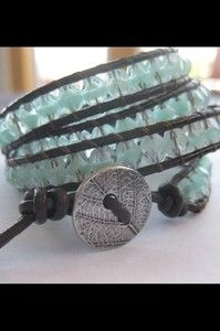 $26.99 - 4 wrap leather and glass bead bracelet