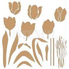 Stencil Deco Multicapa 006 Tulipanes