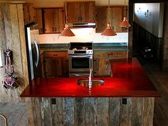 Fabulous Of Reclaimed Wood Kitchen Cabinets: Cool Rustic Reclaimed Brazilian Rosewood Modern Kitchen Cabinet Design With Sleek Countertop Ideas With Pendant Lights Reclaimed Wood Flooring And Reclaimed Wood Wall Ideas