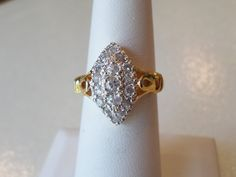 Vintage Fashion DAC Signed, Gold and Silver Tones Inlay Rhinestones Ring, Size…
