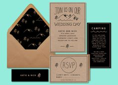 Rustic Wedding Invitation, Rustic wedding stationary, woodsy wedding invitation, camp wedding invitation, natural wedding stationary, by daydream prints