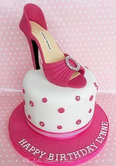 Sugarpaste shoe is based on a Manolo Blahnik design, decorated with Swarovski crystals. The cake is carrot with orange buttercream. Shoe Box Cake, Bag Cake, Shoe Cakes, Cupcake Cakes, Purse Cakes, Cupcakes, Pretty Cakes, Beautiful Cakes, Amazing Cakes
