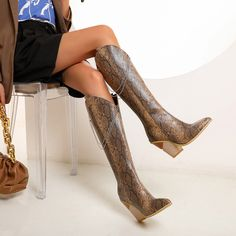 Snake-effect High Heel Cowgirl Boots Knee High Boots for   Up2Step Short Ankle Boots, Knee High Boots, Ankle Booties, High Heels, Heeled Boots, Shoe Boots, Cowgirl Boots, Suede Heels, Chunky Heels