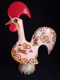 """O Galo De Barcelos Good Luck Rooster #23 In Firing Made In Portugal 8.5"""" Tall"""