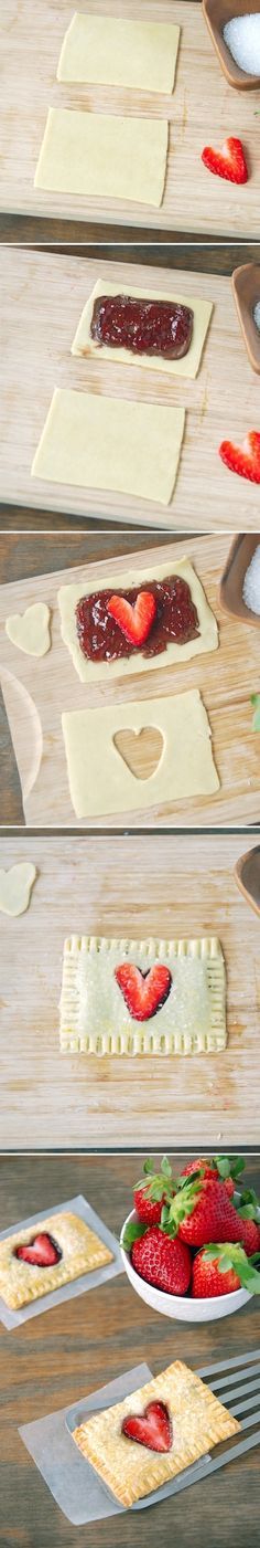 Strawberry Heart Pop Tarts (with Nutella!) would be so cute for valentines day! NUTELLA!!!!!!!!