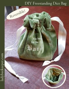 Reversible Freestanding Dice Bag - full tutorial from The Lady Beekeeper