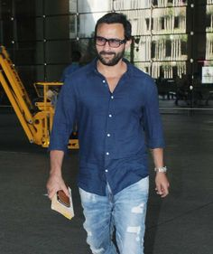 Saif Ali Khan at Mumbai airport. #Bollywood #Fashion #Style #Handsome