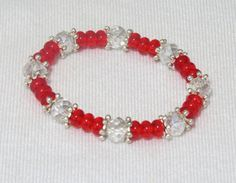 Red and clear crystal bead stretch bracelet by jewlerystar on Etsy