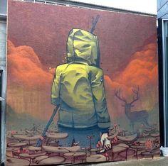 Street Art by Mister Woodland 3d Street Art, Amazing Street Art, Street Art Graffiti, Mural Painting, Mural Art, Banksy, Sidewalk Chalk Art, Graffiti Murals, 2d Art