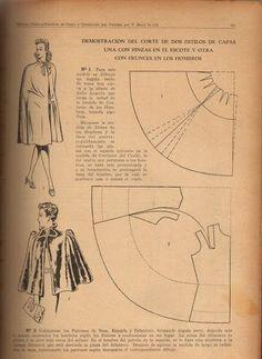 Vintage Dress Patterns, Clothing Patterns, Pattern Cutting, Pattern Making, Cape Pattern, Sewing Material, Pattern Drafting, Mode Vintage, Fashion Sewing