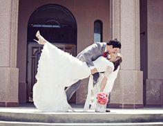 Newport Beach Temple Wedding - Dip Kiss Picture