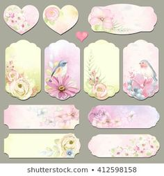 Collection holidays labels with design elements, Robin and Blue-tail birds, flowers and leaves, vector illustration in vintage style on watercolor background. Gift Tags Printable, Printable Stickers, Planner Stickers, Pink Glitter Background, Watercolor Background, Decoupage Vintage, Decoupage Paper, Vintage Tags, Vintage Labels