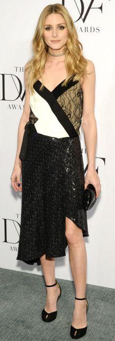 Who made Olivia Palermo's white lace slip dress, black pumps, and clutch handbag