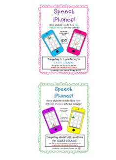 Have students stay motivated in speech with these ADORABLE NO PREP Speech iPhones BUNDLE at a DISCOUNTED PRICE! These are targeted for OLDER SOUNDS - L, L BLENDS, R, R BLENDS, S, Z, TH, SH, CH, J and EARLY SOUNDS - K, G, F, V, T, D, P, B, M. Initial, Medial, & Final positions are available for almost all sounds!There are 12 pictures per phone!