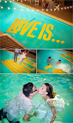LOVE IS ... What a fun idea for a wedding!