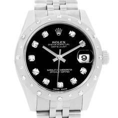 Rolex Datejust Midsize Black Dial Steel Diamond Watch 178344 Box Papers